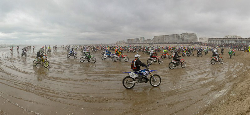 Motorcycle riders on Northern France beach