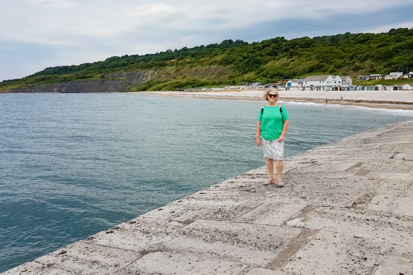 Me standing on The Cobb in Lyme Regis
