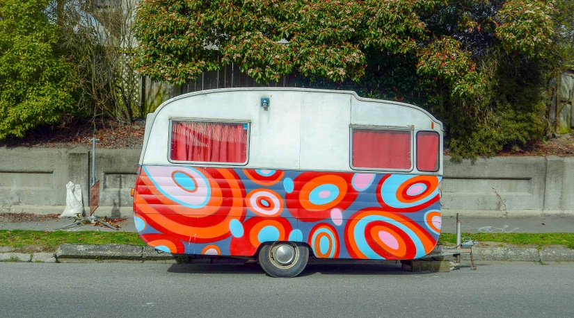Colourful caravan on the roadside_