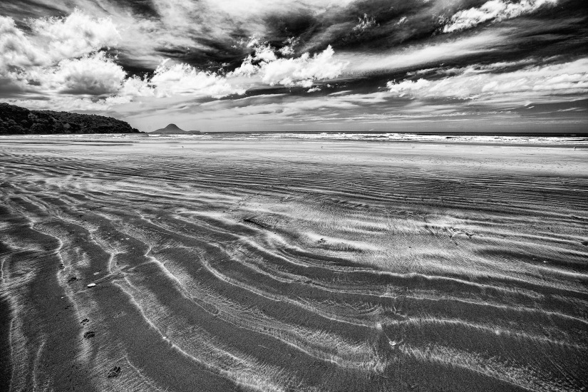 Ohope Beach in black and white