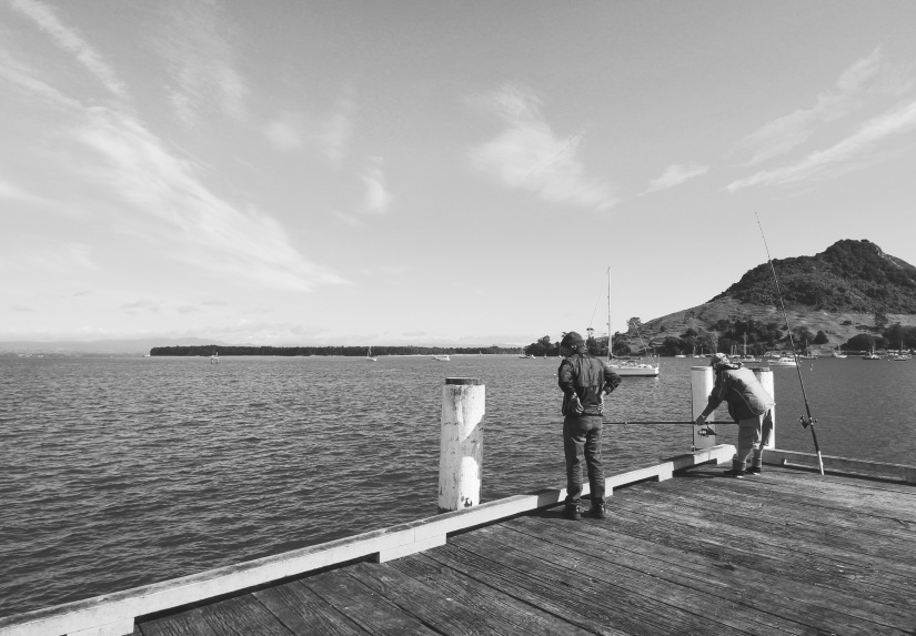 Fishing on the wharf near the mount