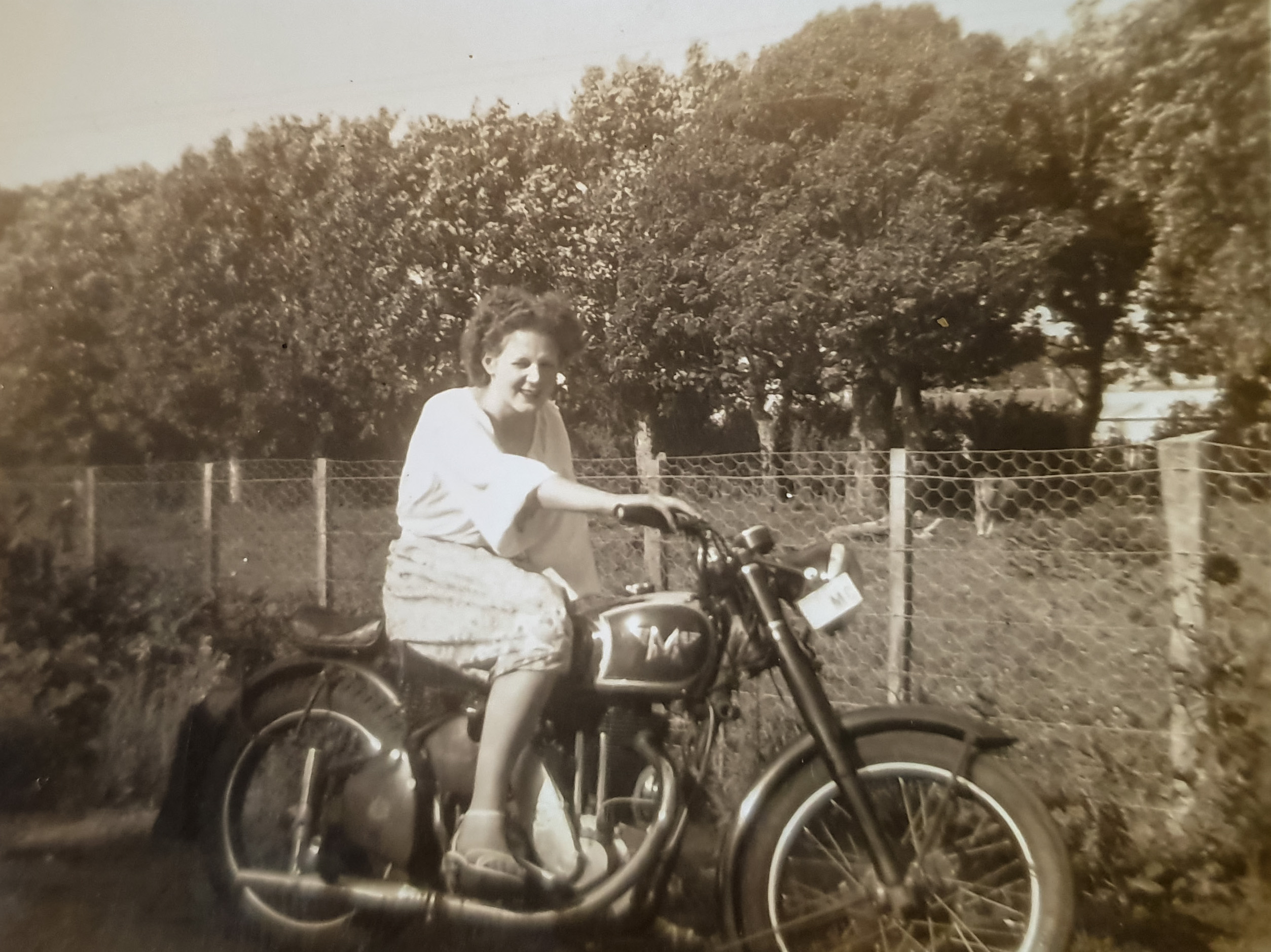 Les's Mum on her Dad's motorbike